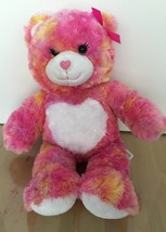 """BUILD A BEAR 16"""" Pink Bear with White Heart on Tummy Pink Bow Valentines EUC - $9.89"""