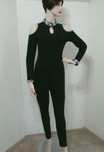 Vintage CONTEMPO CASUALS Rare Black Beaded Jeweled Cold Shoulder Jumpsuit L - $269.99