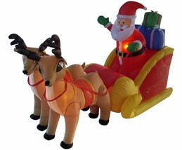 NEW 6ft Long Santa Claus Sleigh w Reindeer Christmas Lighted Yard Decor ... - $99.99