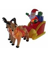 NEW 6ft Long Santa Claus Sleigh w Reindeer Christmas Lighted Yard Decor ... - $99.99