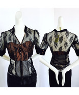 NWT Do&Be in Marchesa style Black Sheer Lace Blouse Built in Bra Babydol... - $130.50