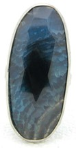 VTG UNIQUE Silver Tone Abstract Faceted Blue Art Glass Stone Ring Size 8 - $29.70