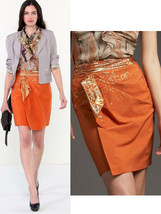 $268 Elie Tahari Hadley Chili Gold Faux Wrap Straight Skirt 6 12 - £65.10 GBP