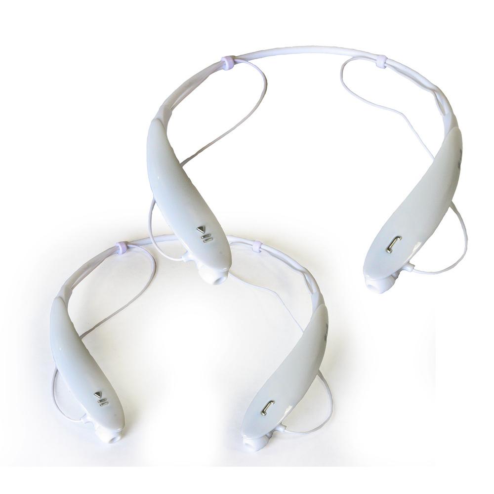 2pc SET Sports Bluetooth Headphones in White