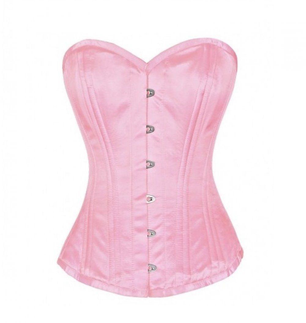 Pink Satin Double Bone Gothic Burlesque Waist Cincher Basque Overbust Corset Top