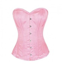 Pink Satin Double Bone Gothic Burlesque Waist Cincher Basque Overbust Co... - $65.47