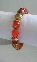 Vintage Dark Orange Red Crystal Gem Beaded Gold Tone Fashion Stretch Bra... - ₨1,804.79 INR