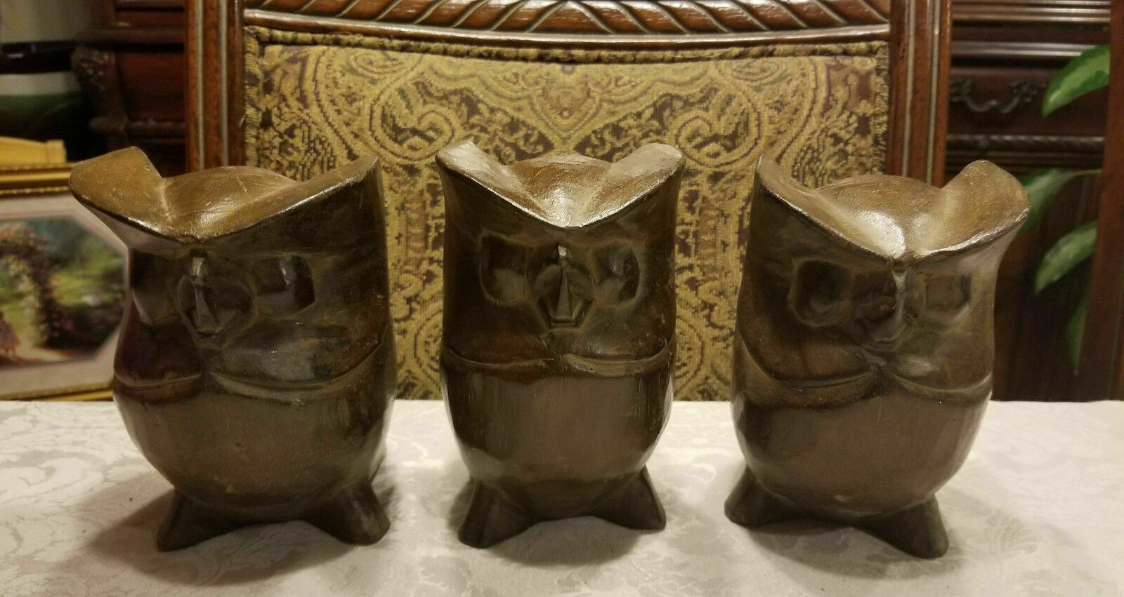 1960's Solid Wood Owl Hand Carved Figurines