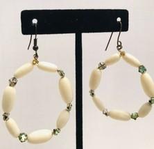 Vintage Handmade Ivory Bead Wire Hoop Earrings Dangle Drop J6858 - $15.19