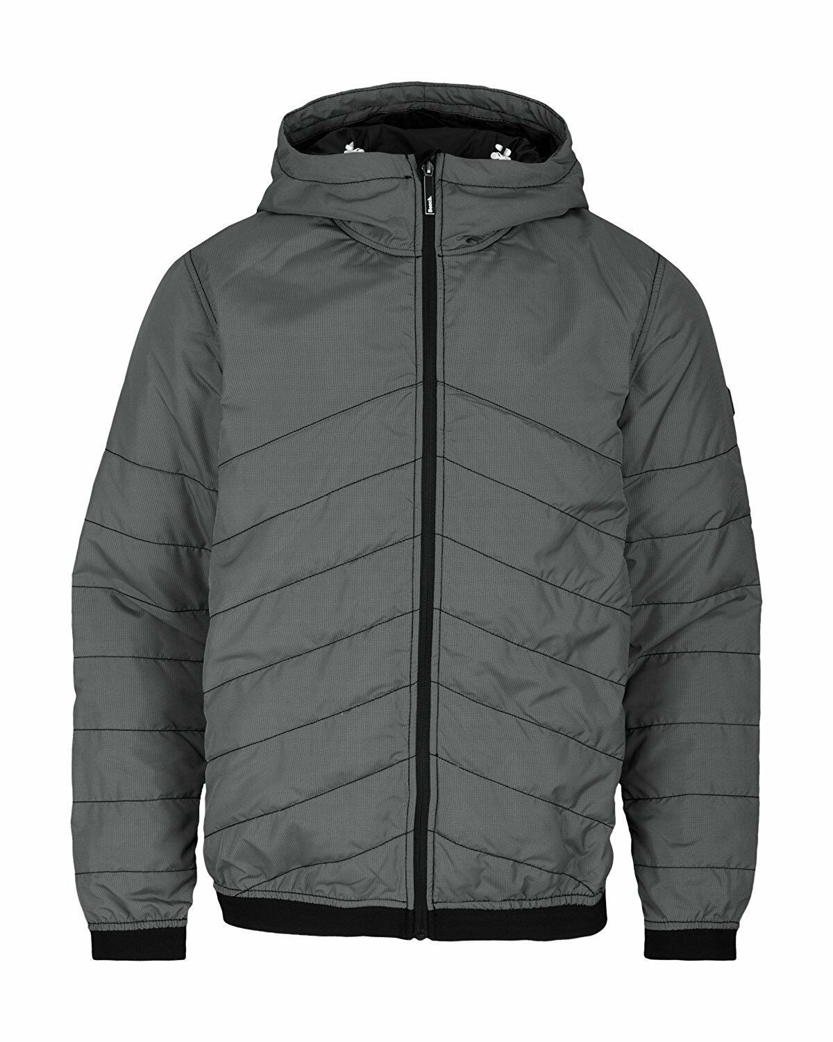 Bench Ahlo Black Charcoal Grey Quilted Lightweight Winter Jacket Hood BMKA1469