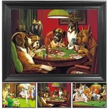 Poker Dogs 3D Poster Wall Art Decor Framed Print   14.5x18.5   Lenticula... - $39.99