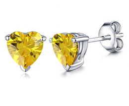 Heart Shape Yellow Sapphire Women's Stud Earrings 14k White Gold Over 925 Silver - $35.10
