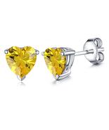 Heart Shape Yellow Sapphire Women's Stud Earrings 14k White Gold Over 92... - $35.10