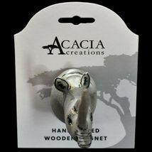Acacia Creations Hand Carved Jacaranda Wood Safari Rhinoceros Rhino Magnet image 3