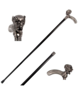 Demon Skull Head Intricate Carved Walking Cane Stick - $39.95