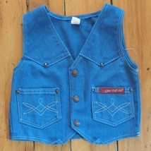Vintage On The Go Bleu Jean Gilet Jeunesse Taille 7 - $38.56