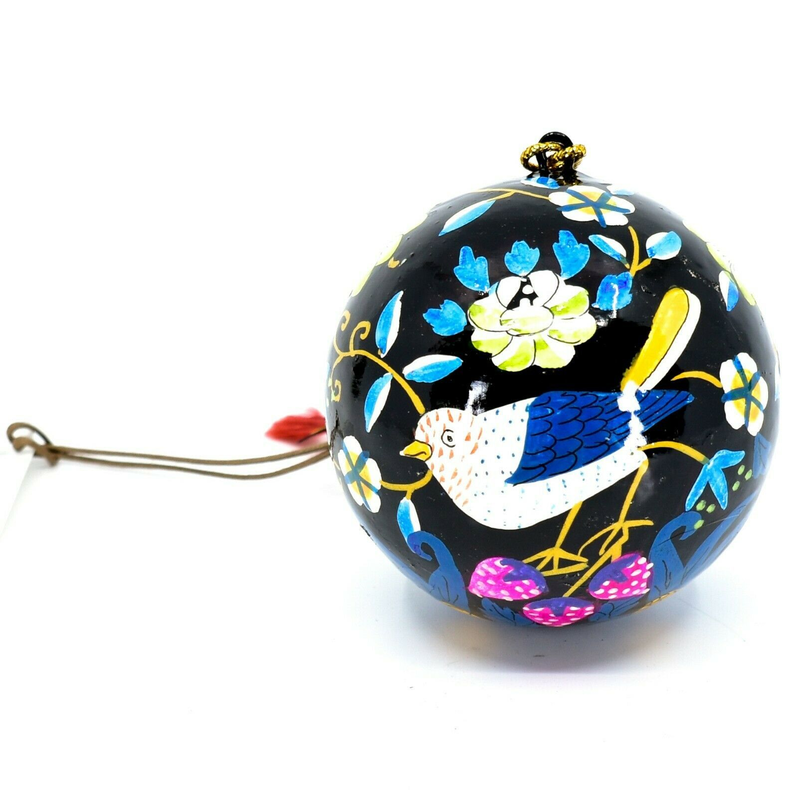 Asha Handicrafts Painted Papier-Mâché Birds on Black Holiday Christmas Ornament