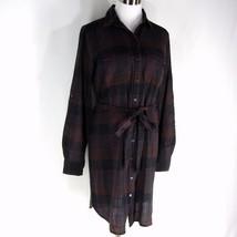 ANN TAYLOR LOFT Plaid Shirt Dress Shirtdress w/ Belt S 4 6 Blue Brick Red - $28.99