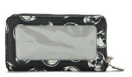 No Boundaries Ladies Zip Around Wristlet Wallet Skulls See Through On Si... - €11,26 EUR