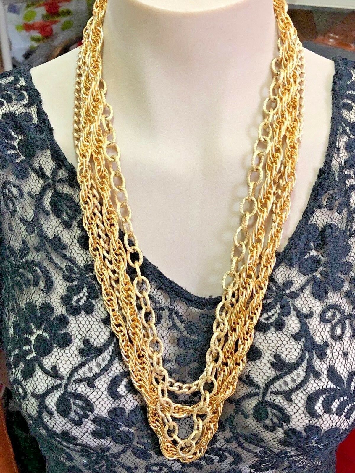 1960's Signed Vintage Gold Tone Multi Strand Necklace - Signed O.S