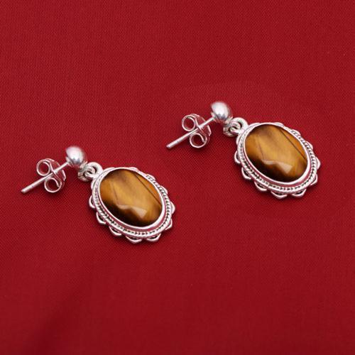 Tiger Eye Gemstone Stud 925 Sterling Silver Earring Shine Jewelry SHER0785