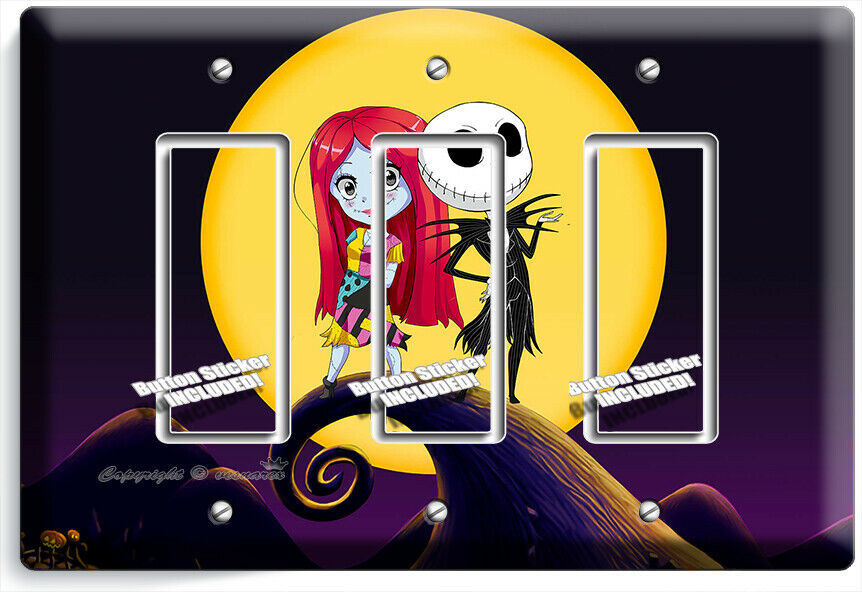 CUTE NIGHTMARE BEFORE CHRISTMAS JACK AND SALLY 3 ROCKER LIGHT SWITCH PLATE DECOR