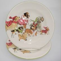 """Pier 1 Park Avenue Puppies Salad Luncheon Plate 8.75"""" Dogs in Winter Coats - $49.49"""