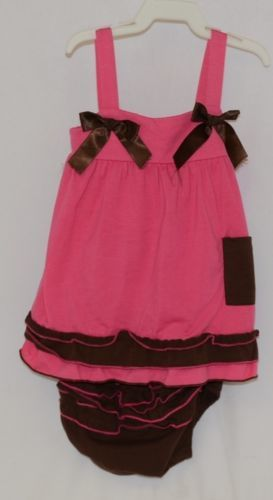 I love Baby Two piece Sun Top Ruffled Bloomers Hot Pink Brown Size 3 to4 T