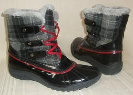 Anne Klein Sport AKGAILLA Black Gray Quilted Upper Rubber Duck Boots Size 8.5 M  - $27.67