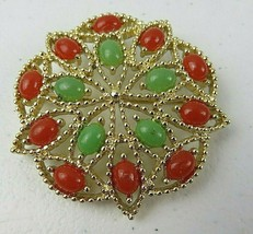 Vintage Sarah Cov Fashion Green & Brown Beads Flower Brooch Pin Gold Color  - $25.00
