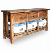 vidaXL Sideboard w/ Rattan Baskets Solid Reclaimed Wood TV Stand Console... - $300.99