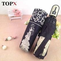 TopX® New Cute Princess Automatic Three Folding Umbrella Rain Woman Sun - $23.46