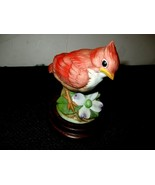 PORCELAIN BABY CARDINAL FIGURINE BY ANDREA BY SADEK #6350 on Wooden Base - $10.00
