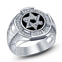 Round Cut Sim Diamond 14k White Gold Finish 925 Silver Men's Special Star Ring - $113.44