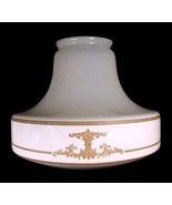 Art Deco Tan Flat Etched White Glass Light Shade Ceiling Pendant Antique - $99.95
