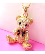 Gold Plated Crystal Lovely Teddy Bear Pendant Necklace - $14.50