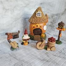 Fall Fairy Garden Set, Sunflower Fairy House, Tiny Gnome Hut, Autumn Fairy Decor