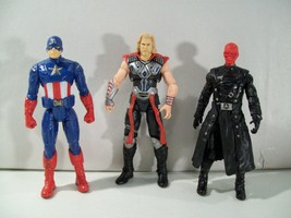 LOT OF 3 MARVEL ACTION FIGURES MIGHTY THOR RED SKULL CAPTAIN AMERICA HASBRO - $15.63