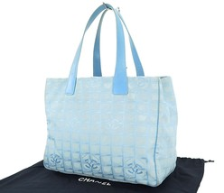 Authentic CHANEL New Travel Line Blue Tote Hand Bag Purse #26435B - €118,20 EUR