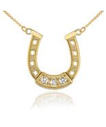 14K Yellow Gold Lucky Horseshoe CZ Necklace - $119.99+