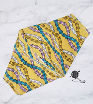 Cotton Face Mask Abstract Boho Print Teal Gold Double Layer Fabric Handm... - $13.50