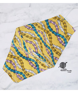 Cotton Face Mask Abstract Boho Print Teal Gold Double Layer Fabric Handm... - $12.95