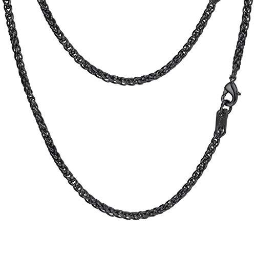 PROSTEEL Black Wheat Braided Chain Link Necklace Stainless Steel 3mm Spiga Twist