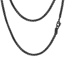 PROSTEEL Black Wheat Braided Chain Link Necklace Stainless Steel 3mm Spi... - $14.10