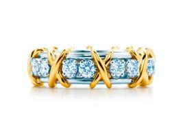 Swarovski Diamond Criss Cross Design 2 Tone Fancy Eternity Ring Solid 92... - $199.99