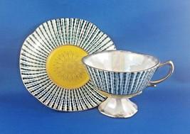 Shafford Hand-Decorated Pedestal Teacup & Saucer Bone China Vintage Japan - $25.59