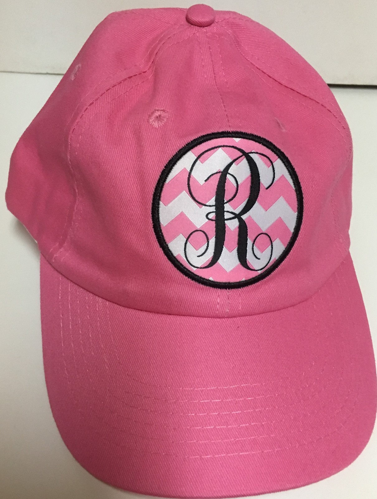 Pink Denim Cap Hat Monogrammed Adult One Size Velcro Adj. Various Initials