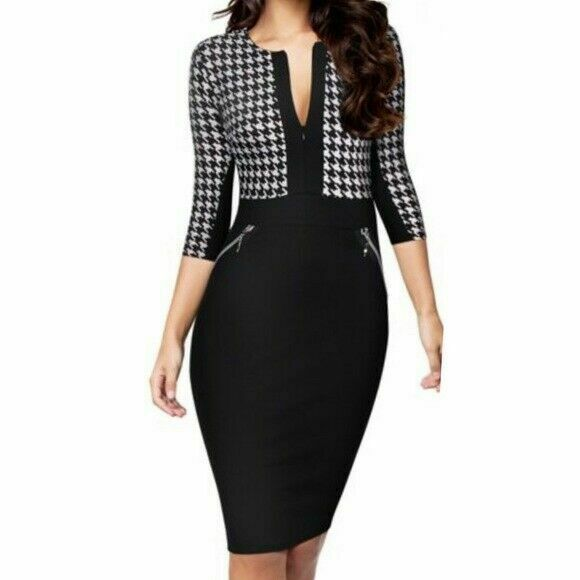 Primary image for Miusol dress houndstooth optical illusion midi black white womens small