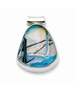 STERLING SILVER MULTI-COLOR DICHROIC GLASS TEARDROP PENDANT CHARM  9.8 G... - $39.86
