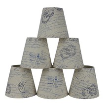 Urbanest Set of 6 Natural with Blue Script Pure Linen Chandelier Lamp Shade, 3-i - $34.65